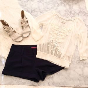 Abercrombie & Fitch White Floral Embellished Top